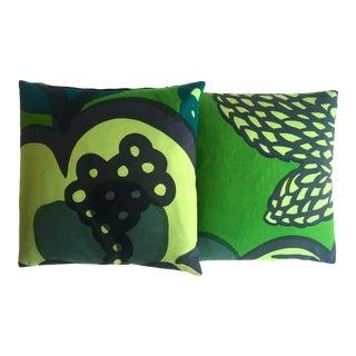 Marimekko Vintage 1960's Rare Mid Century Scandinavian Modern Throw Pillows - a Pair For Sale