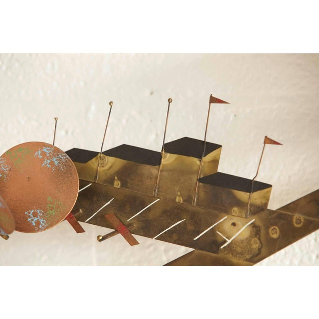 Metal Curtis Jere Brass Wall Sculpture of Airplanes and Airfield, Signed, 1970s For Sale - Image 7 of 11