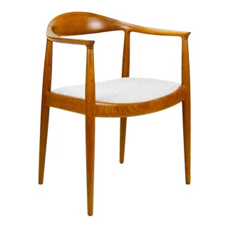 Hans Wegner for Johannes Hansen Teak Round Arm Chair For Sale