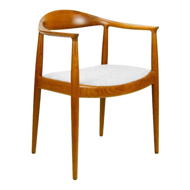 Hans Wegner for Johannes Hansen Teak Round Arm Chair For Sale
