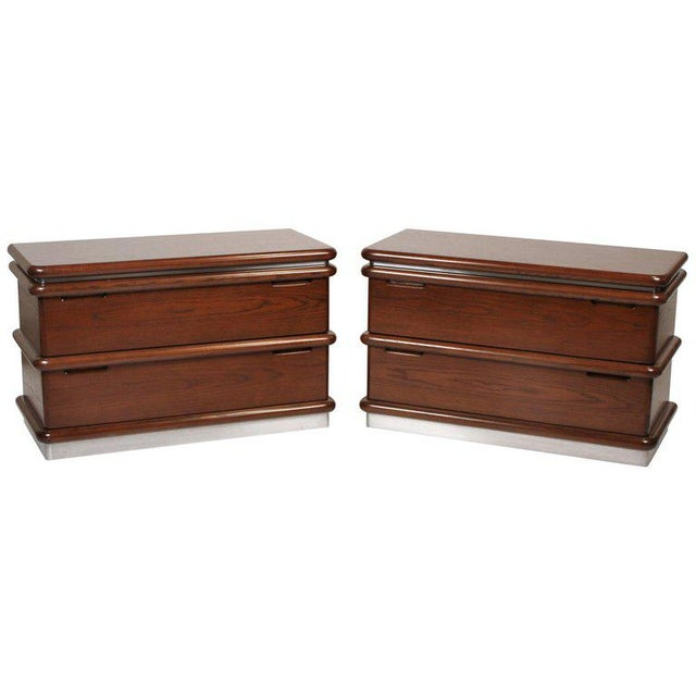 Jay Spectre Modernist Walnut and Brushed Stainless Nightstands For Sale - Image 10 of 10