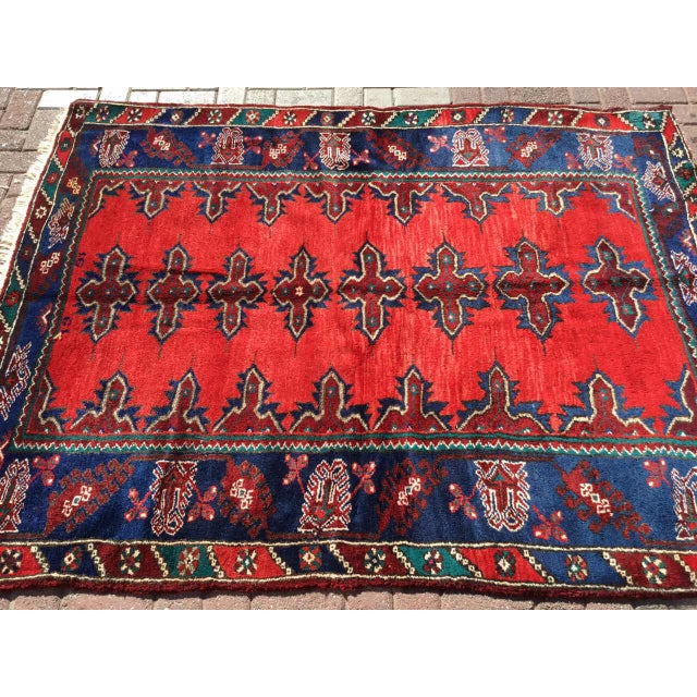 Abstract Red & Navy Vintage Hand Knotted Turkish Rug For Sale - Image 3 of 9