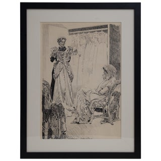 """Orson Byron Lowell """"Deciding What to Wear"""" Pen and Ink on Paper, 1910 For Sale"""