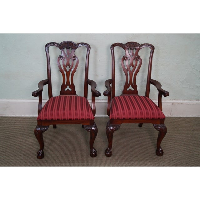 Maitland Smith Mahogany Chippendale Arm Chairs - 2 - Image 2 of 10
