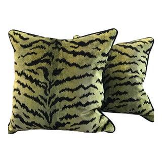 """Le Tigre Black Mohair 22"""" Pillows - A Pair"""