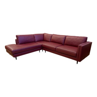 Furniture Envy Three Piece Holden Collection Leather Sectional For Sale