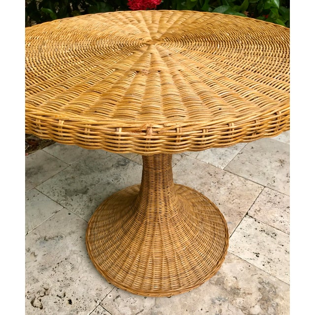 Vintage Wicker Rattan Dining Table For Sale - Image 9 of 13