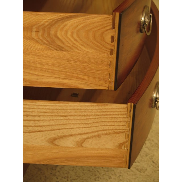 Vintage Ethan Allen Federal Style Bow Front Mahogany Low Chest For Sale - Image 9 of 13