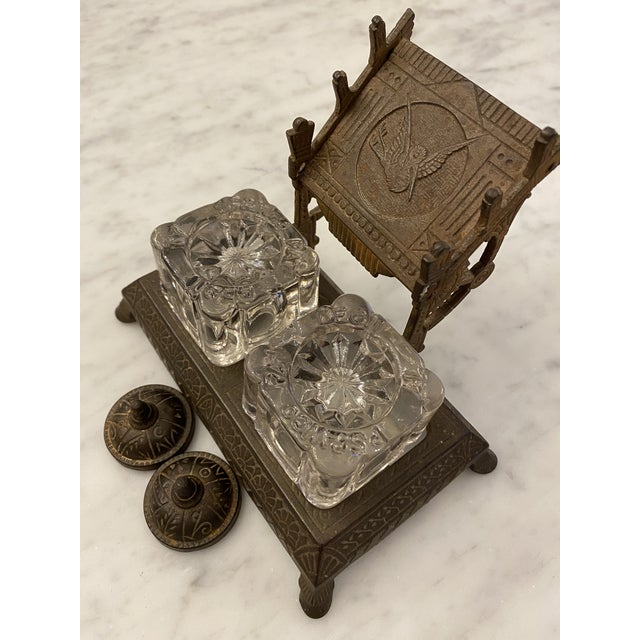 1877 Victorian Cast Iron and Pressed Glass Double Inkwell For Sale In Chicago - Image 6 of 13