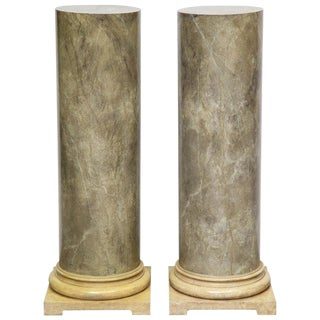1980s Faux Marbleized Pedestals - a Pair For Sale