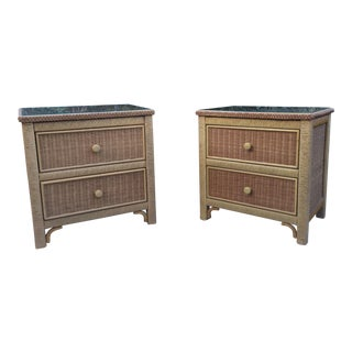 Henry Link Rattan Wicker Chests- a Pair