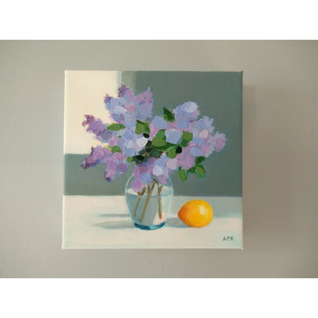 """French Country """"Lilac and Lemon"""" Contemporary Floral Still Life Acrylic Painting by Anne Carrozza Remick For Sale - Image 3 of 5"""