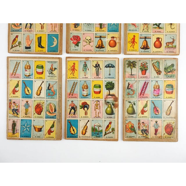 Boho Chic Vintage Mexican Loteria Bingo Cards - Set of 6 For Sale - Image 3 of 4