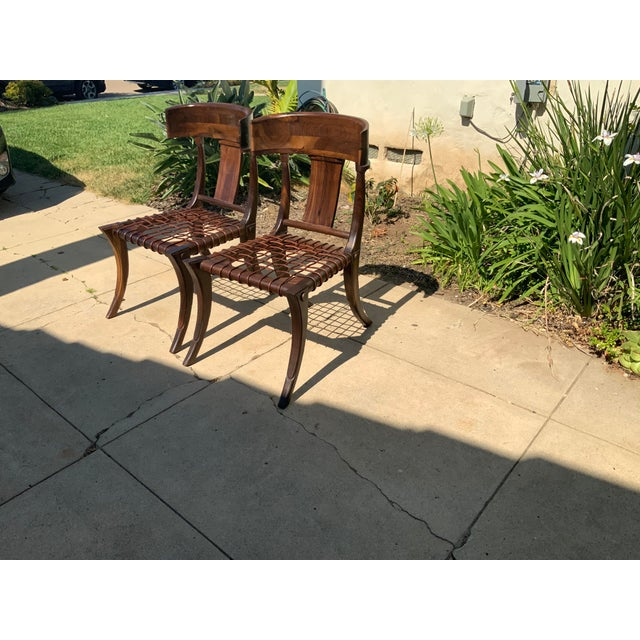 Wood Klismos Walnut Chairs - a Pair For Sale - Image 7 of 10