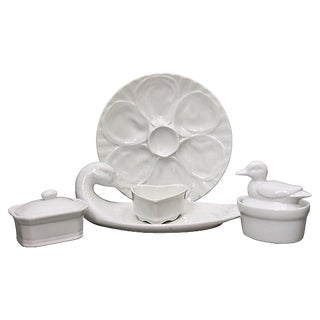 French White Porcelain Serving Set For Sale