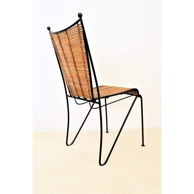 Boho Chic Ficks & Reed Mid-Century Organic Modern Bamboo & Rod Iron Chair Pencil Reed Rattan Albini Weinberg Style -- Tropical Boho Chic Mid Century Modern MCM For Sale - Image 3 of 11