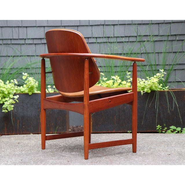 1960s Mid-Century Modern Arne Hovmand Olsen Teak Back Chair For Sale In Seattle - Image 6 of 13