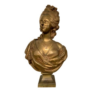 19th Century Marie Antoinette Bronze Bust After Felix Lecomte For Sale