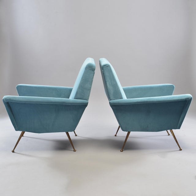 Mid-Century Italian Arm Chairs With New Sky Blue Upholstery - a Pair For Sale - Image 10 of 11