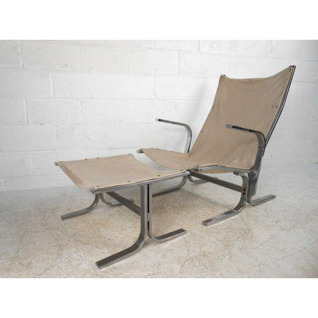 1970s Mid-Century Modern Ingmar Relling Style Sling Lounge Chair and Ottoman For Sale - Image 5 of 10
