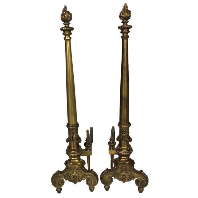 Louis XIV Style Brass Andirons - a Pair For Sale - Image 13 of 13