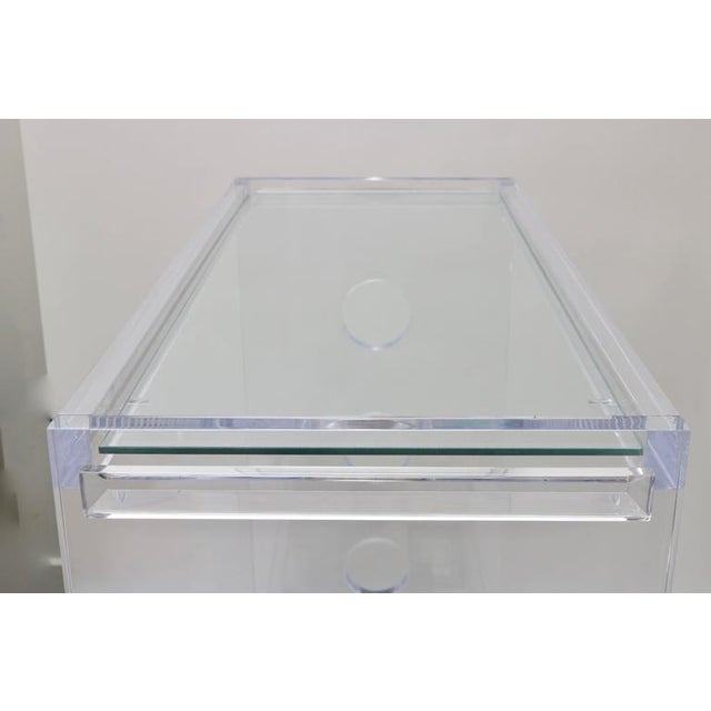 White Customizable Rectangular Shaped Bespoke Bar Cart in Lucite and Mirror by Alexander Millen For Sale - Image 8 of 10
