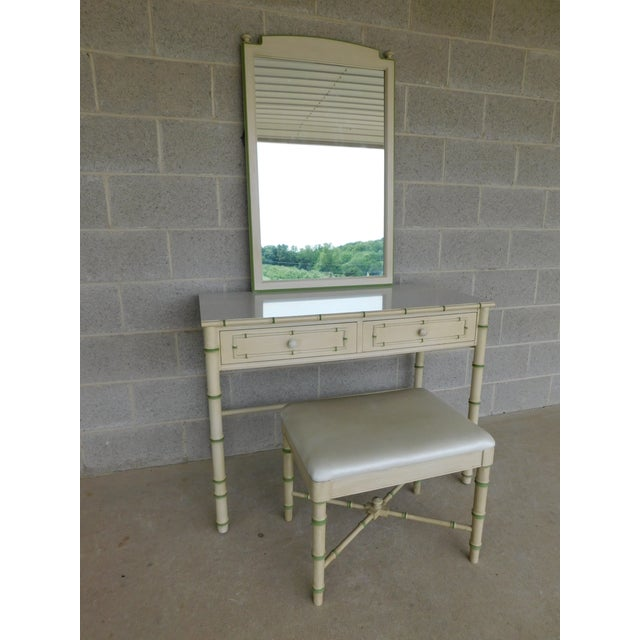 Thomasville Allegro Regency Style Faux Bamboo 3pc Vanity Mirror and Stool For Sale - Image 12 of 12