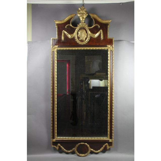 Glass Danish Neoclassical Mahogany and Parcel Gilt Mirror For Sale - Image 7 of 7