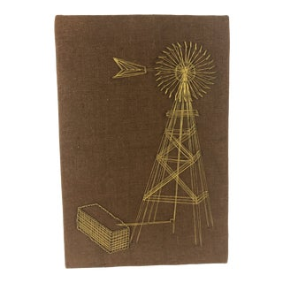 1970s Vintage Windmill on Burlap Wire String Art For Sale