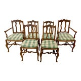 Image of Set of 6 19th-C. French Rush Seat Dining Chairs For Sale