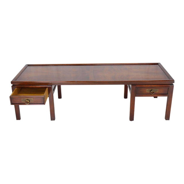 Mahogany Double Pedestal Two Drawers Rectangular Coffee Table For Sale