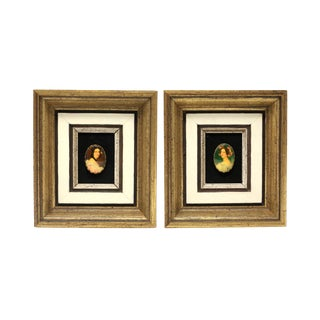 Oval Cameos in Gold Frames - a Pair For Sale