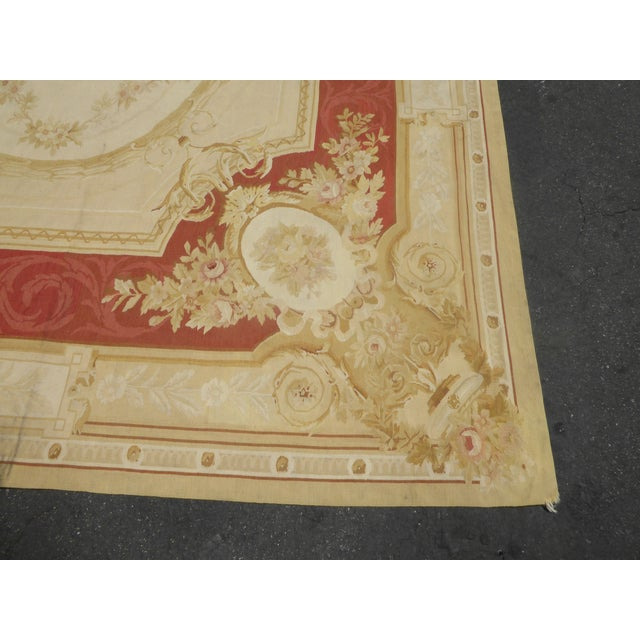Vintage Tan Floral Aubusson Area Rug - 8′6″ × 11′7″ - Image 8 of 11
