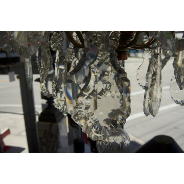 Metal Louis XV Bronze & Hand-Cut Crystal Chandelier From France Circa 1850 For Sale - Image 7 of 9
