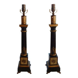 French Neoclassical Style Tole & Bronze Lamps - A Pair
