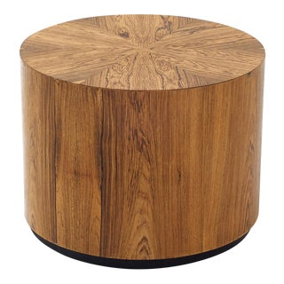 Short Drum End Table for Harvey Probber for Modern - Wild Veneer Pattern - Cylindrical For Sale