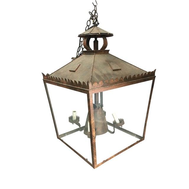 Gothic Vintage Tole Faux Bronze Lantern For Sale - Image 3 of 5
