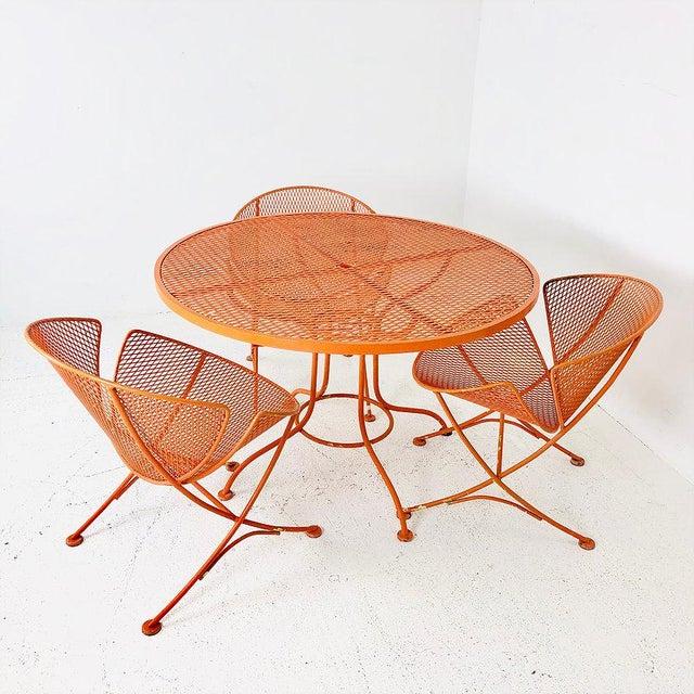 "1960s Set of Three Mid-Century Salterini ""Orange Slice"" Chairs & Table Orange Metal Patio Set For Sale - Image 5 of 9"