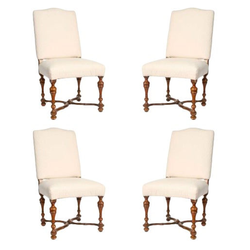 19th Century Italian Walnut Side Chairs in Brown Linen - Set of 4 For Sale