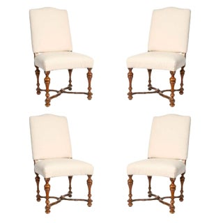 19th Century Italian Walnut Side Chairs - Set of 4 For Sale
