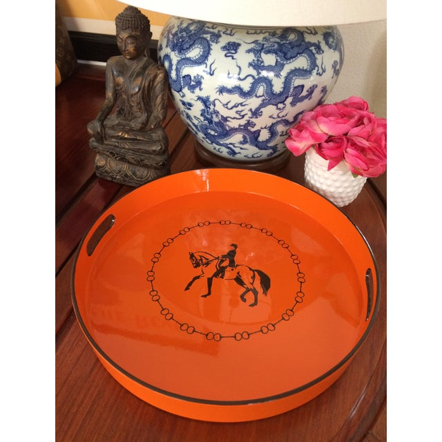 Not Yet Made - Made To Order Hermes-Inspired Orange Equestrian Serving Tray For Sale - Image 5 of 10