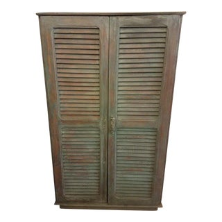 Modern Moroccan Green Whitewash Shoe Wall Cabinet For Sale