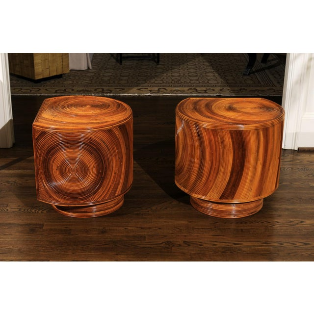Chic Restored Pair of Swivel Bamboo and Black Lacquer End Tables, Circa 1975 For Sale - Image 12 of 13