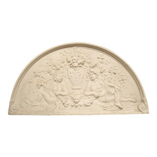 Large Arched Plaster Bas Relief Overdoor From France For Sale