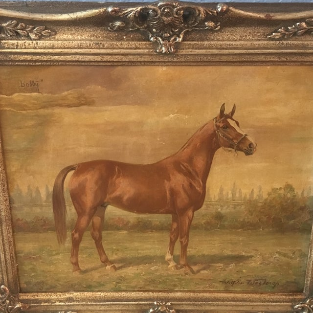 1920s 1920s Vintage Wilhelm Westerop Horse Bobby Painting For Sale - Image 5 of 6