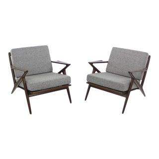"Pair of Scandinavian Modern ""Z"" Armchairs Designed by Poul Jensen For Sale"