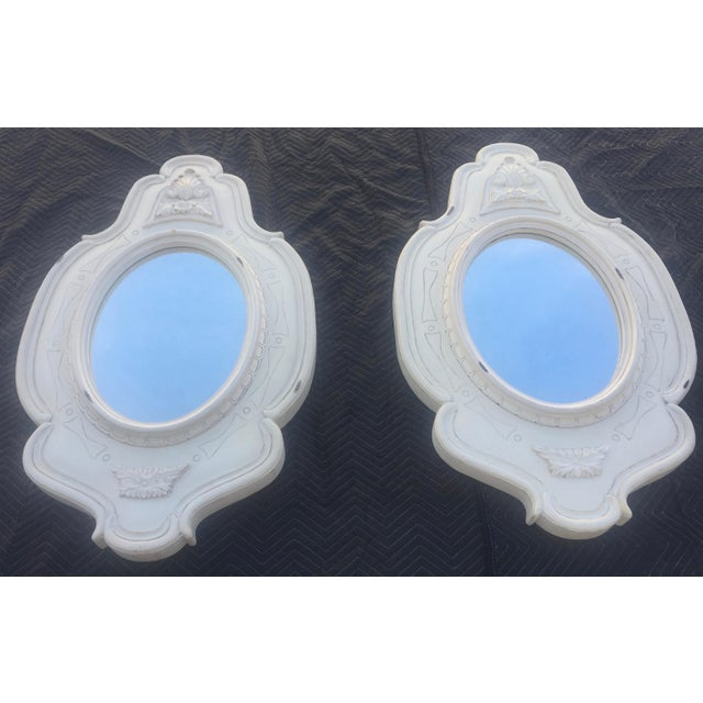 Antique White Antique White French Oval Mirrors - a Pair For Sale - Image 8 of 8