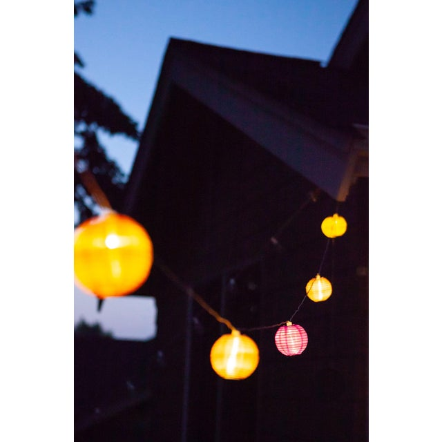 Pink Glow Outdoor Solar String Lights in Peach Bellini For Sale - Image 8 of 9