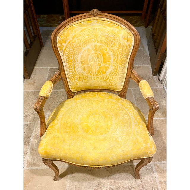 French Fauteuil in Fortuny Fabric For Sale - Image 10 of 10