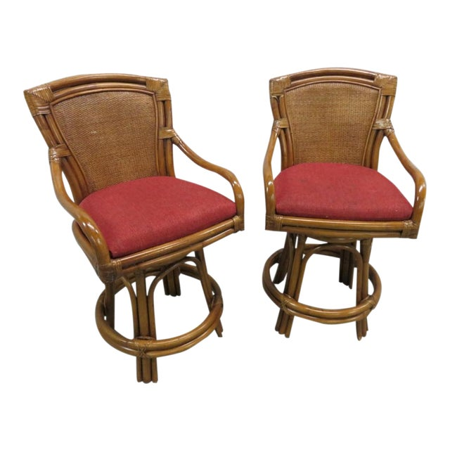 Rattan Bamboo Leather Swivel Bar Stools - a Pair For Sale